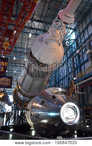 FLORIDA, USA - DEC 20, 2010: Saturn V Rocket displayed in Apollo/Saturn V Center, Kennedy Space Center Visitor Complex in Cape Canaveral, Florida, USA.