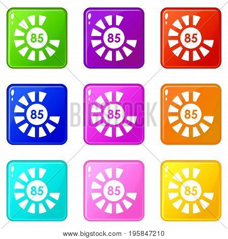 Sign 85 load icons of 9 color set isolated vector illustration