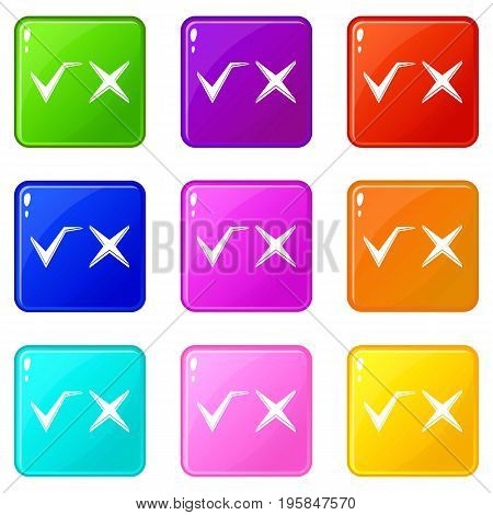 Tick and cross icons of 9 color set isolated vector illustration