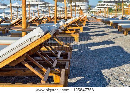 beach sunbed bed for suntan in the sun closeup