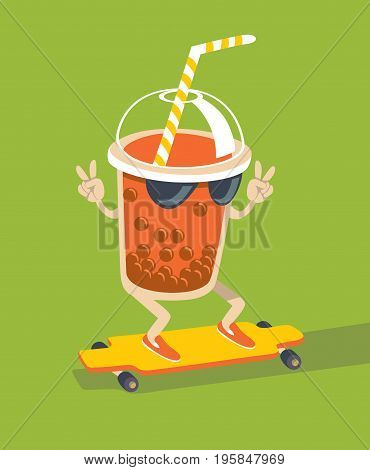 Bubble Tea character skating on longboard flat style vector