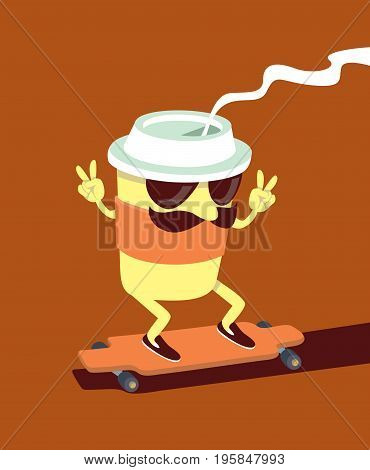 Trendy Coffee cup character skating on longboard