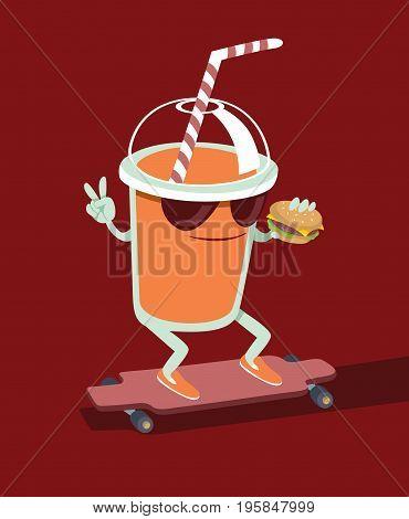 Trendy Beverage character skating on longboard holding burger