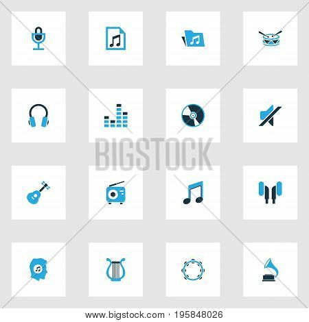 Music Colorful Icons Set. Collection Of Radio, Folder, Mute And Other Elements
