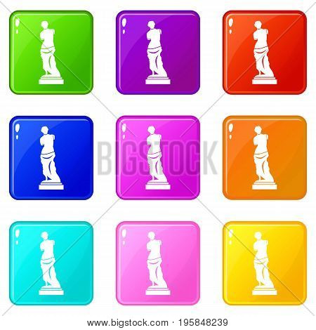Ancient statue icons of 9 color set isolated vector illustration