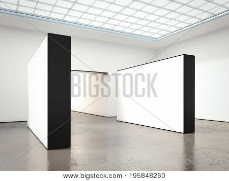 Exhibition with blank white walls and concrete floor. 3d rendering