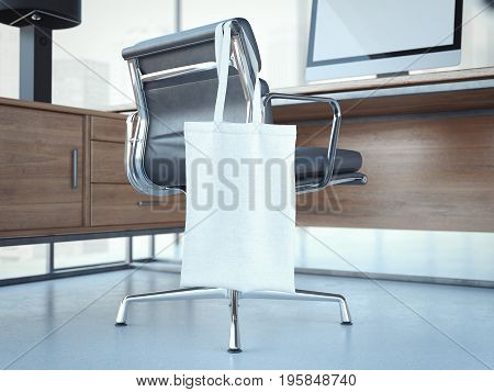 Blank white bag hanging on a modern office chair. 3d rendering