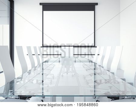 White modern meeting room with glass table and projector screen. 3d rendering