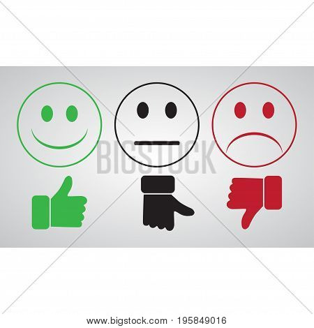 Green smiley thumbs up well. Black Smiley finger toward neutral. Red Smiley bad finger down. On a gray background