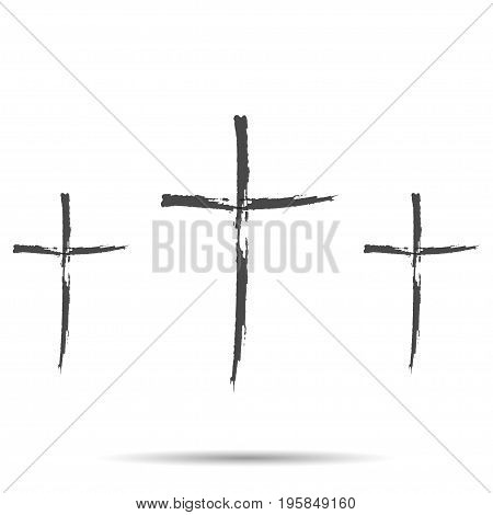 Three black cross with shadow on a white background