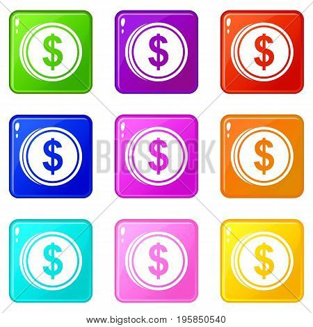 Coin dollar icons of 9 color set isolated vector illustration