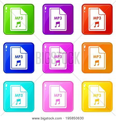 File MP3 icons of 9 color set isolated vector illustration