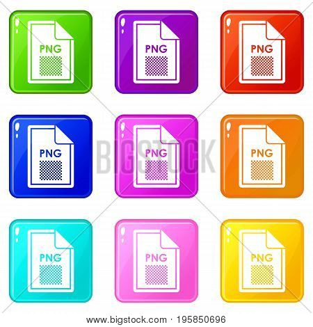 File PNG icons of 9 color set isolated vector illustration