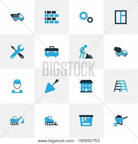 Industry Colorful Icons Set. Collection Of Case, Tip Truck, Worker And Other Elements