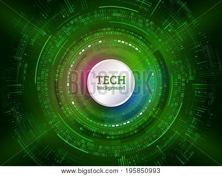 Abstract technology communication on the green background. Hi-tech radial circuit board with various technological elements. Modern vector illustration