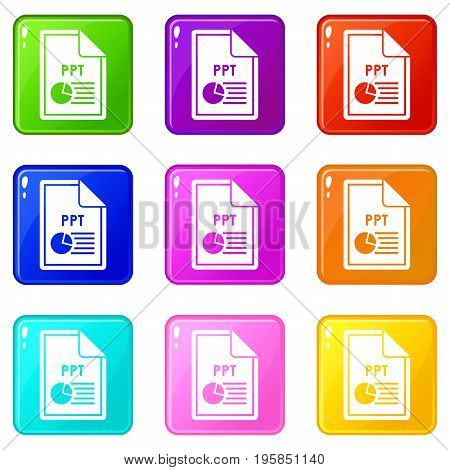 File PPT icons of 9 color set isolated vector illustration
