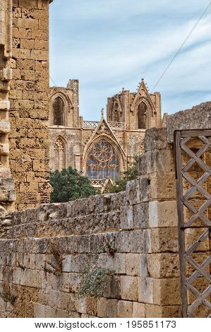 Mosque, ancient Gothic St. Nicholas Cathedral in town Famagusta, North Cyprus