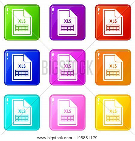 File XLS icons of 9 color set isolated vector illustration