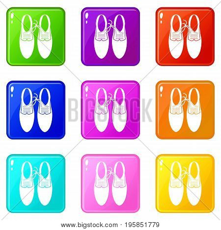 Tied laces on shoes joke icons of 9 color set isolated vector illustration