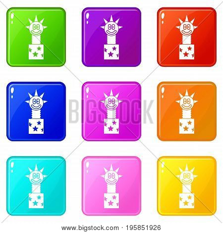 Toy jumping out of box icons of 9 color set isolated vector illustration