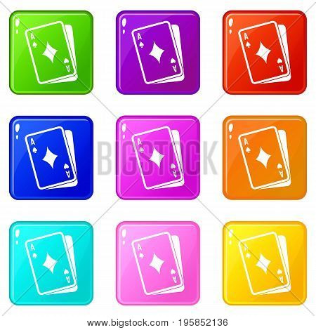 Playing card icons of 9 color set isolated vector illustration