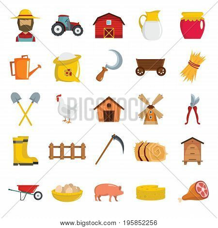 Farm cartoon flat object icons vector illustration for farm design and web. Farm isolated objects
