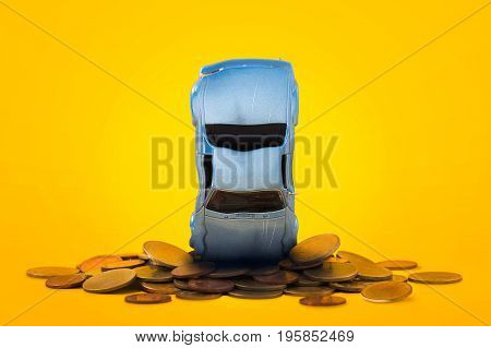 Car crash stacks golden coins with damage and gold coins falling down and explosion scene Car crash insurance and lose money. Saving Financial Installment payment Safety Travel Transport and Accident concept.