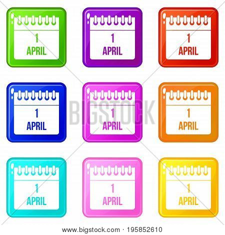 Calendar April 1 icons of 9 color set isolated vector illustration