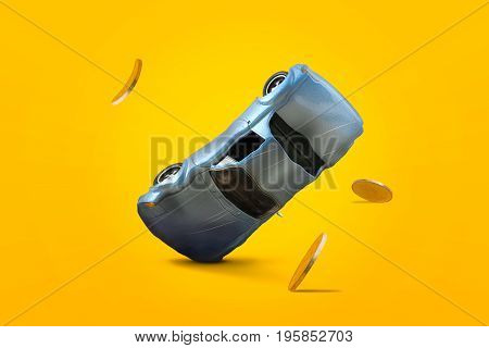 Car accident with damage and gold coins falling down and explosion scene Car crash insurance and lose money. Saving Financial Installment payment Safety Travel Transport and Accident concept.