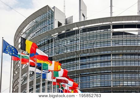 Strasbourg France - June 15 2010: European Parliament building with the flags of the Member States