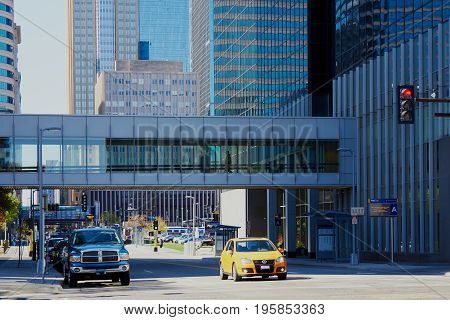 Minneapolis USA - April 11 2012: Minneapolis skyway pedestrian footbridge