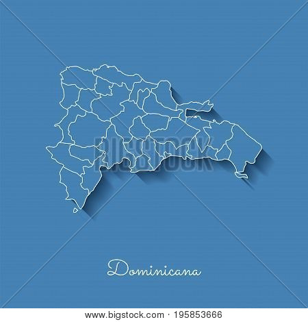 Dominicana Region Map: Blue With White Outline And Shadow On Blue Background. Detailed Map Of Domini
