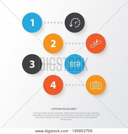 Traveling Icons Set. Collection Of Airport Card, Travel Clock, Escalator Down And Other Elements