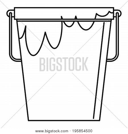 Bucket with glue icon. Outline illustration of bucket with glue vector icon for web