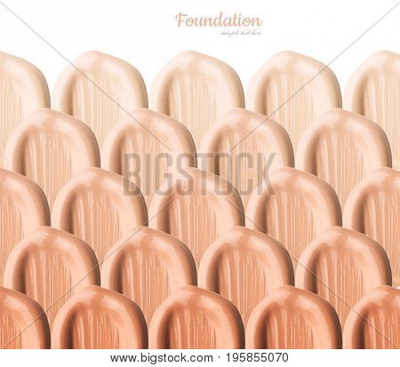 Smears of foundation for face. Isolated on white background