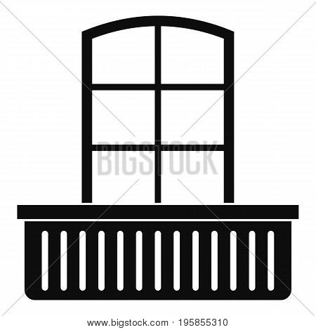 Door with balcony icon. Simple illustration of door with balcony vector icon for web