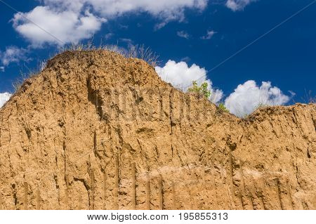 Wall of brick earth in an open clay pit in central Ukraine