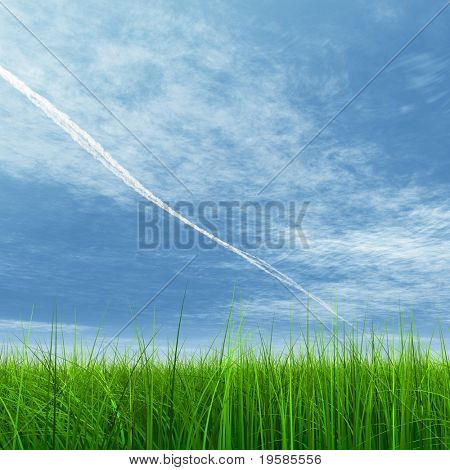 high resolution 3d green grass over a square blue sky with white clouds as background and plane traces