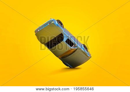 Blue car accident with damage scene Car crash insurance. Travel Safety Transport and Accident concept. Isolated on yellow background.