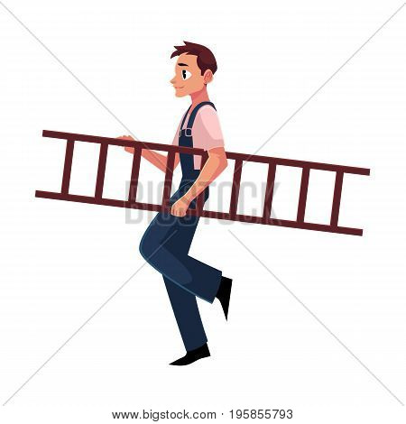 Construction worker, builder in jumpsuit carrying ladder, cartoon vector illustration isolated on white background. Full length portrait of smiling builder, construction worker carrying a ladder