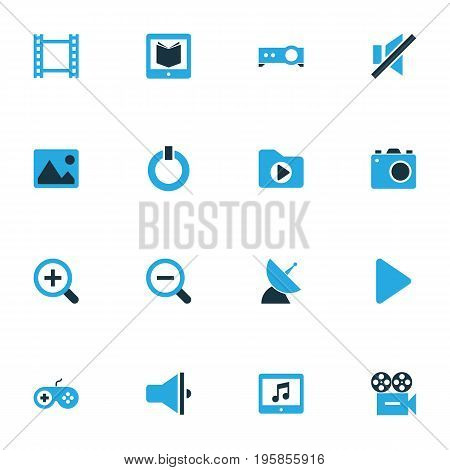 Multimedia Colorful Icons Set. Collection Of Camera, Begin, Magnifying And Other Elements