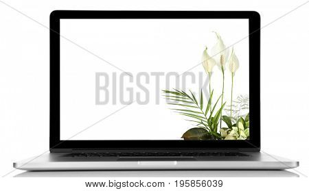 Modern laptop with beautiful floral composition on screen, white background