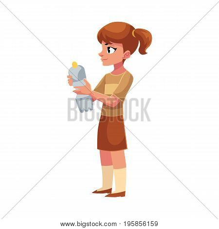 Girl holding plastic bottle, waste, garbage recycling concept, cartoon vector illustration isolated on white background.
