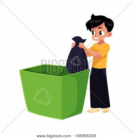 Boy putting garbage bag into trash bin, waste recycling concept, cartoon vector illustration isolated on white background.