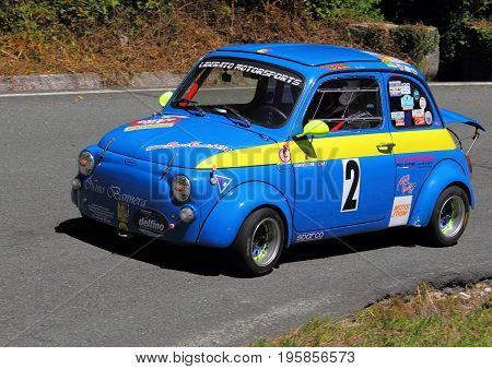 Malvaro Favale Italy - July 16 2017: Uphill Race Race Favale Castello: The Fiat 500 Giannini 650 NP led by Antonino Fiordilino in action on the route.