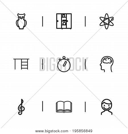 Set Of 9 Editable Education Outline Icons. Includes Symbols Such As Bookcase, Molecule, Male And More