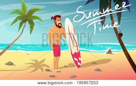 Summer time cartoon vector illustration.Surfer with surfing board stands on beach. Vacation on coast