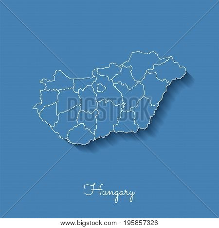 Hungary Region Map: Blue With White Outline And Shadow On Blue Background. Detailed Map Of Hungary R