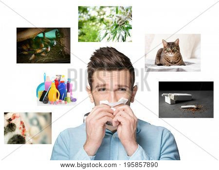Young man suffering from allergy and causes on white background. Health care concept
