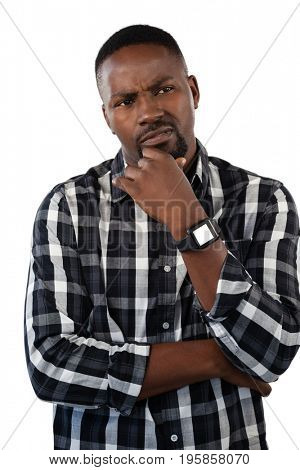 Thoughtful man gesturing against white background